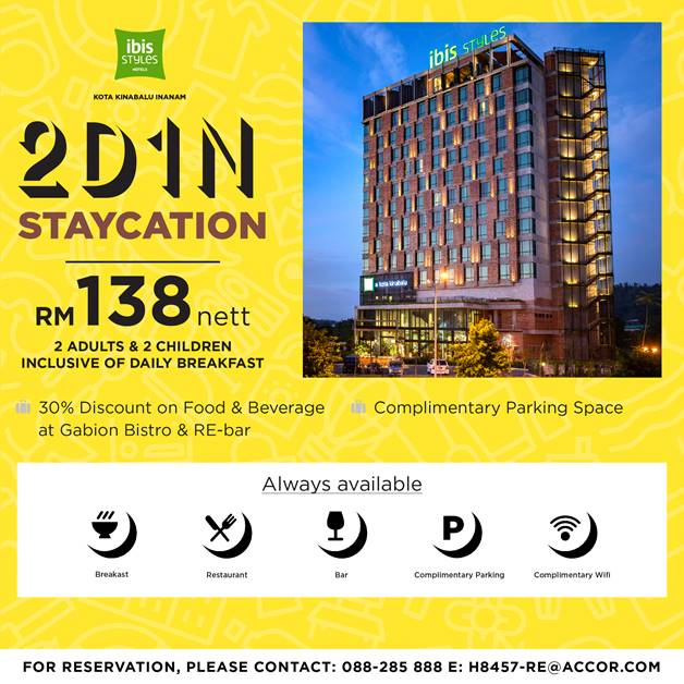 2d1n Staycation With Ibis Styles Kota Kinabalu Inanam