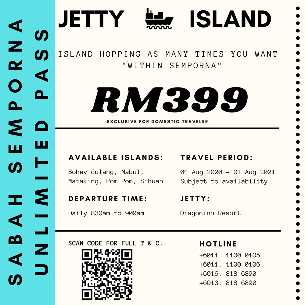 Sabah Semporna Unlimited Pass: Island Hopping.