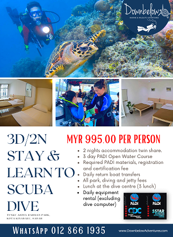 3D/2N Stay & Learn To Scuba Dive PADI Open Water Course