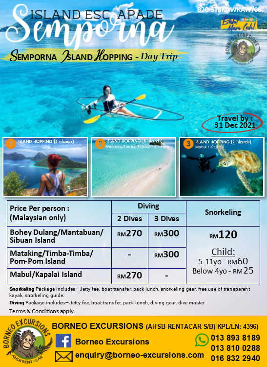 Semporna Island Hopping – Day Trip