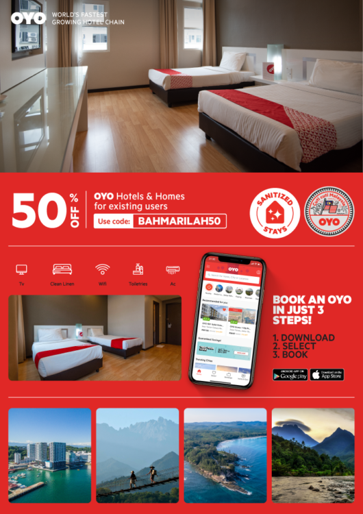 Get 50% off your stay at OYO in Sabah
