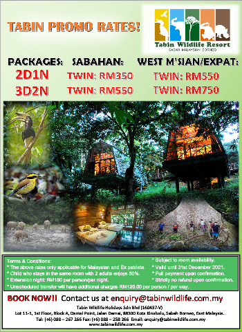 3D2N Tabin Tabin Wildlife Safari & 2D1N Tabin Wildlife Safari