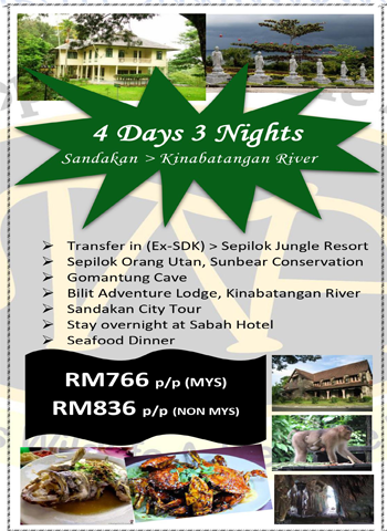 4 Days 3 Nights Sandakan > Kinabatangan River